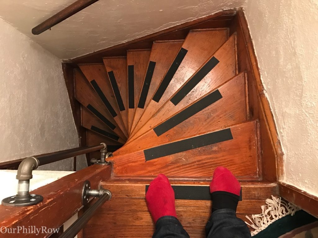 Standing on the third floor looking down at a very traditional Philadelphia Winder at our Airbnb. Navigating after having wine can be an experience.
