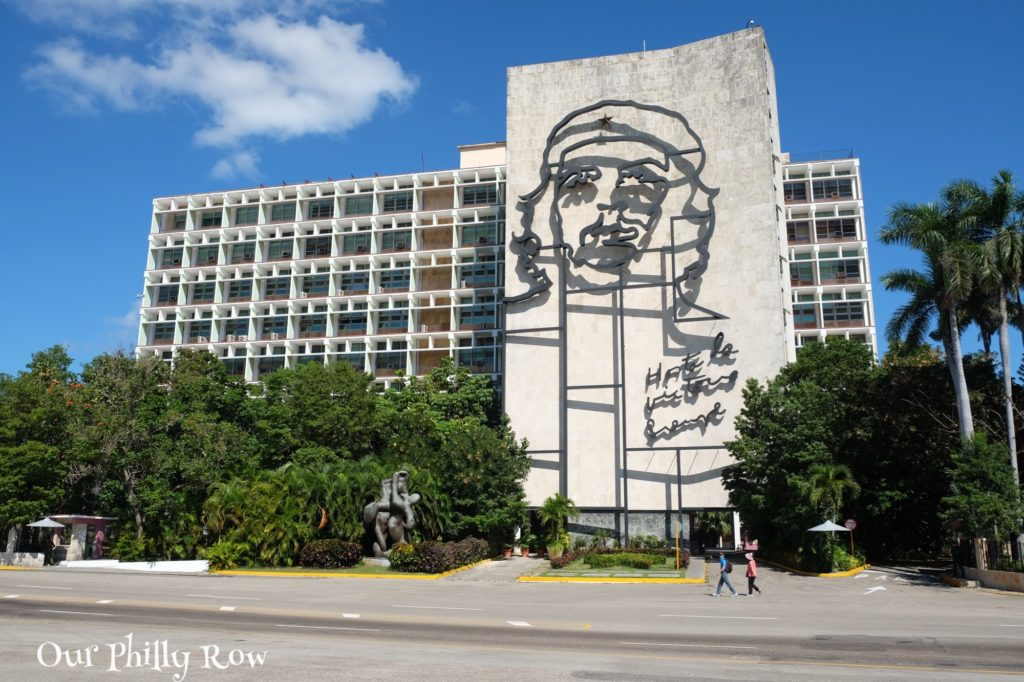 Building of the Ministry of the Interior with memorial to Che Guevara on the Plaza de la Revolución. This was our first stop in Havana.