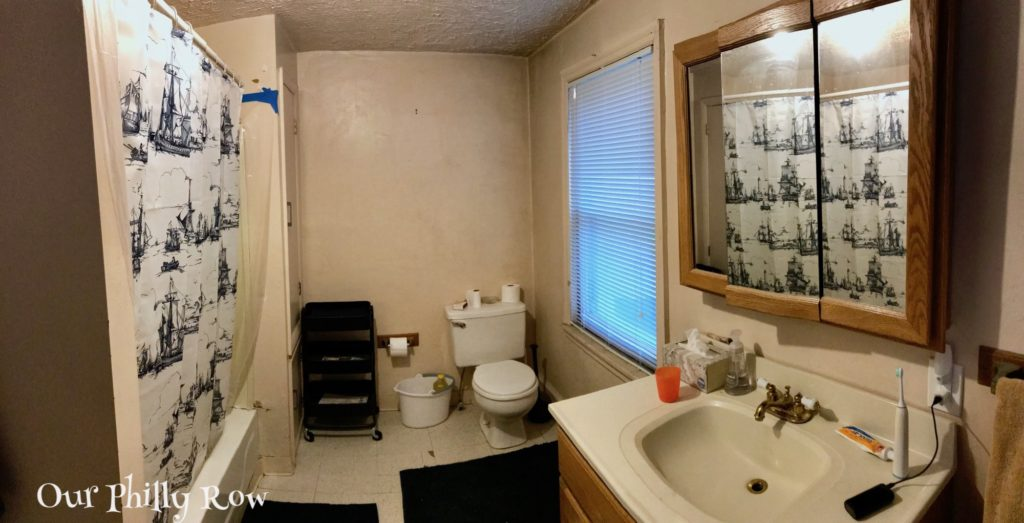 This panorama of our FUGLY bathroom shows the one nice thing about it, it is big! Otherwise, it is pretty awful.